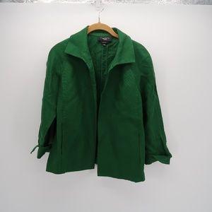 Talbots Green Pure Irsh Linen Open Front Blazer LP